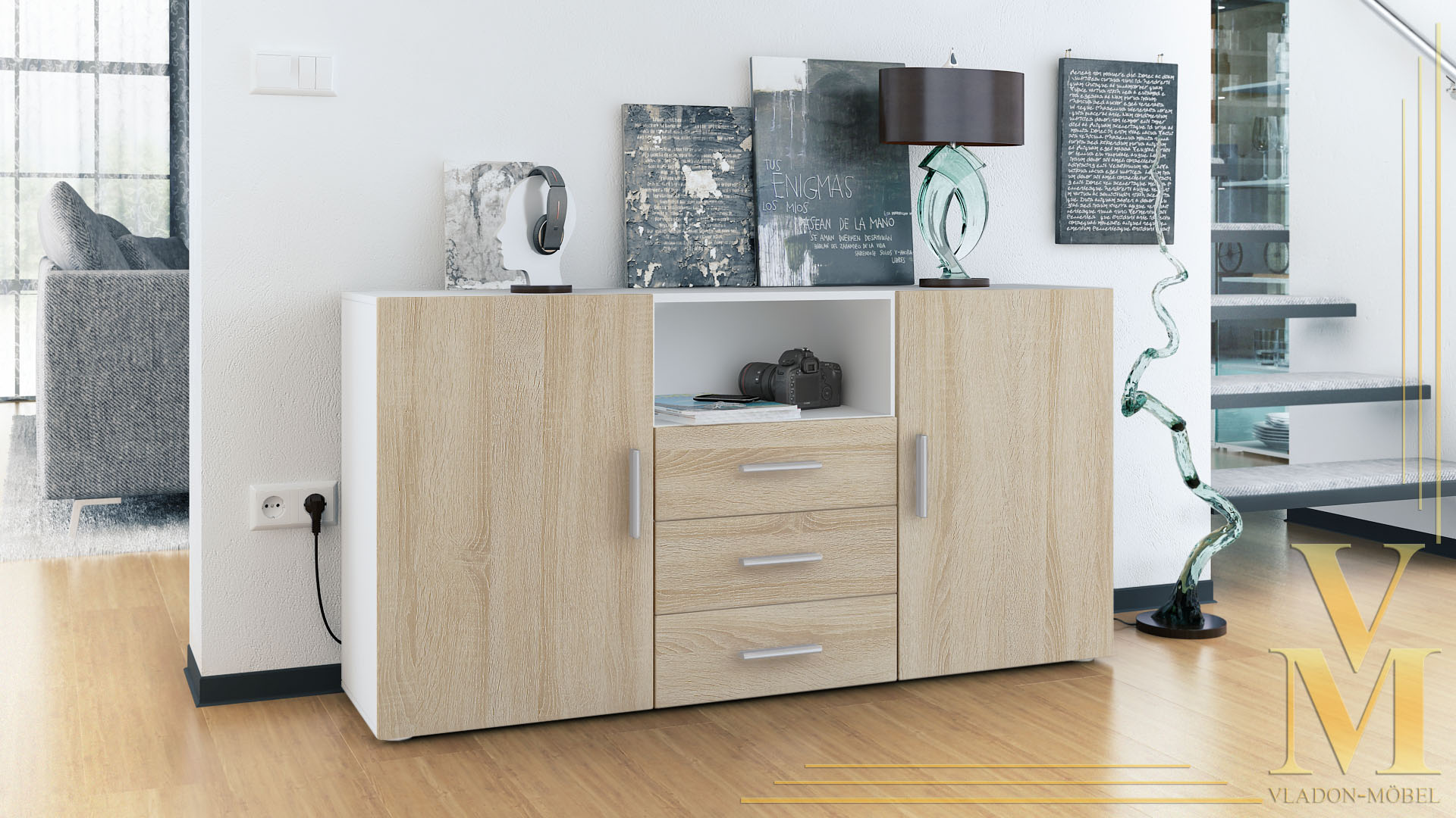 sideboard cabinet chest of drawers skadu white high. Black Bedroom Furniture Sets. Home Design Ideas