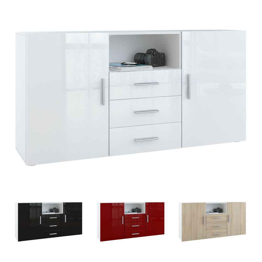 sideboard cabinet chest of drawers skadu white high gloss natural tones ebay. Black Bedroom Furniture Sets. Home Design Ideas
