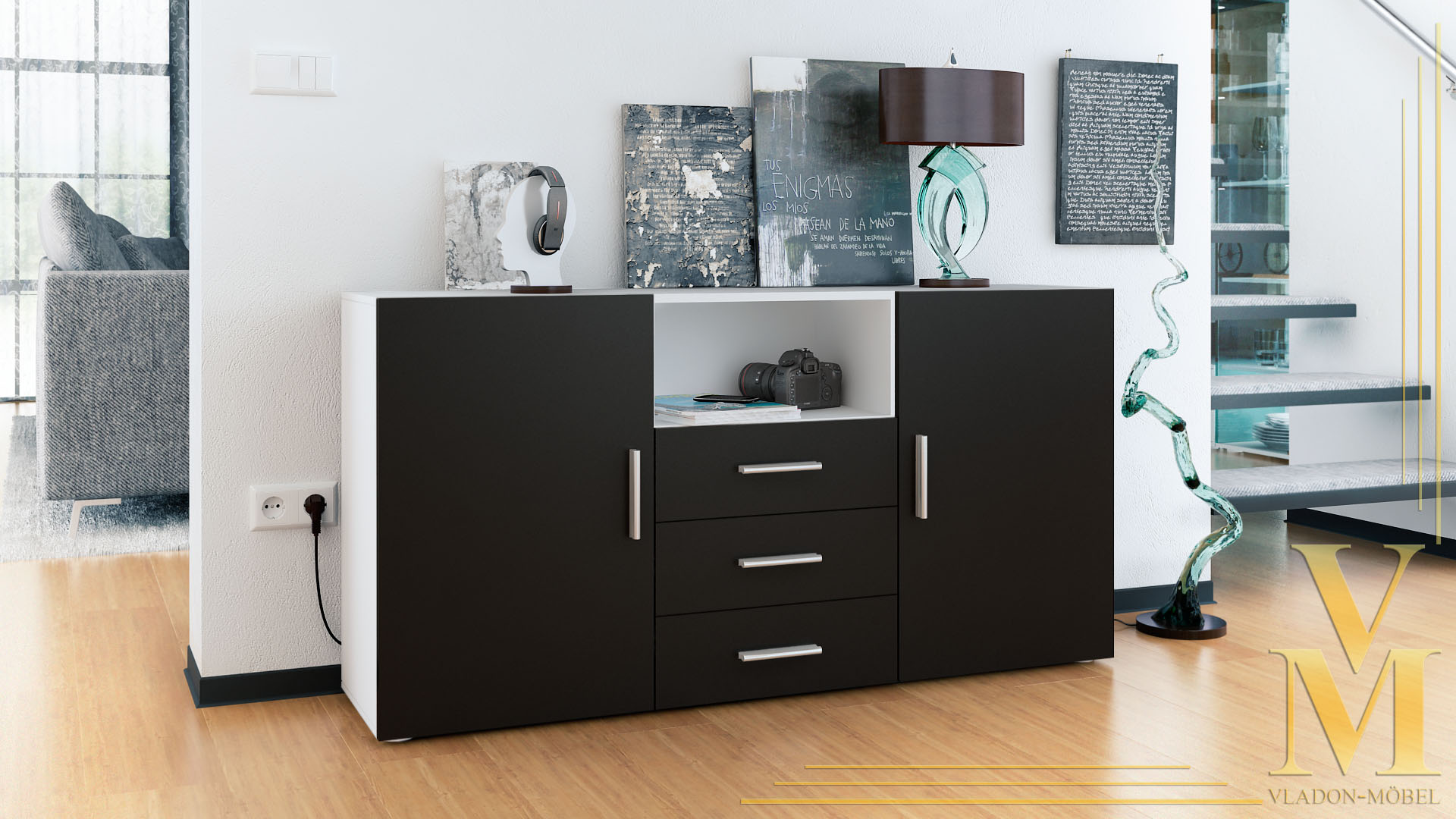 sideboard cabinet chest of drawers skadu white high. Black Bedroom Furniture Sets. Home Design Ideas