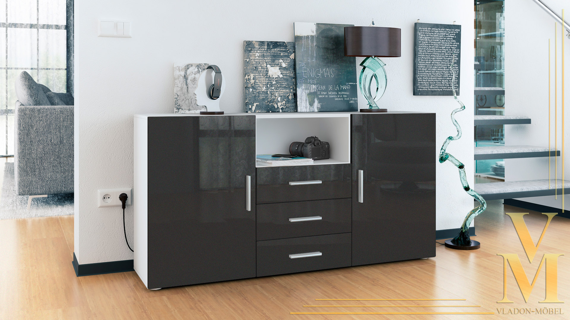 sideboard baltimore schwarz interessante. Black Bedroom Furniture Sets. Home Design Ideas