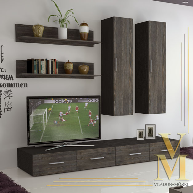Wall Unit Living Room Furniture Skadu In Black Mali Wenge Ebay