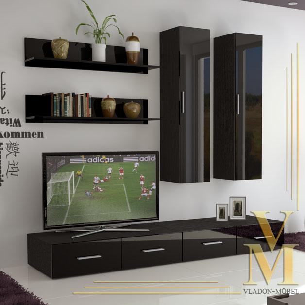 Wall Unit Living Room Furniture Skadu In Black Black