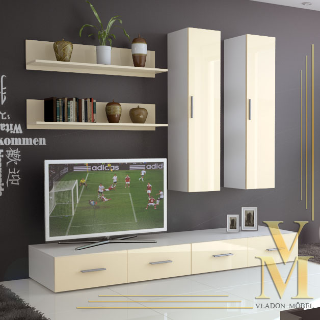 Wall unit living room furniture skadu in white cream - Cream high gloss living room furniture ...