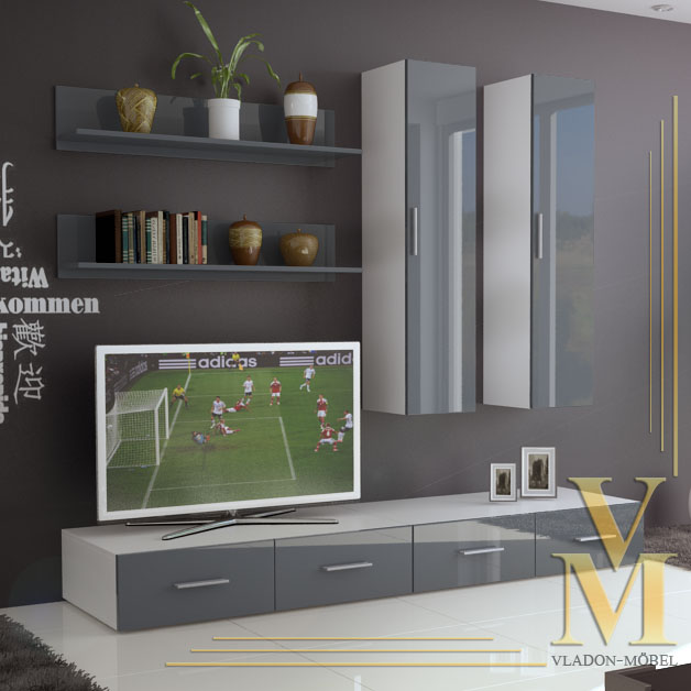 Wall Unit Living Room Furniture Skadu In White Grey