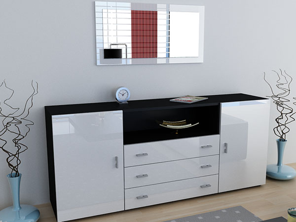 sideboard anrichte skadu v2 hochglanz schwarz wei. Black Bedroom Furniture Sets. Home Design Ideas