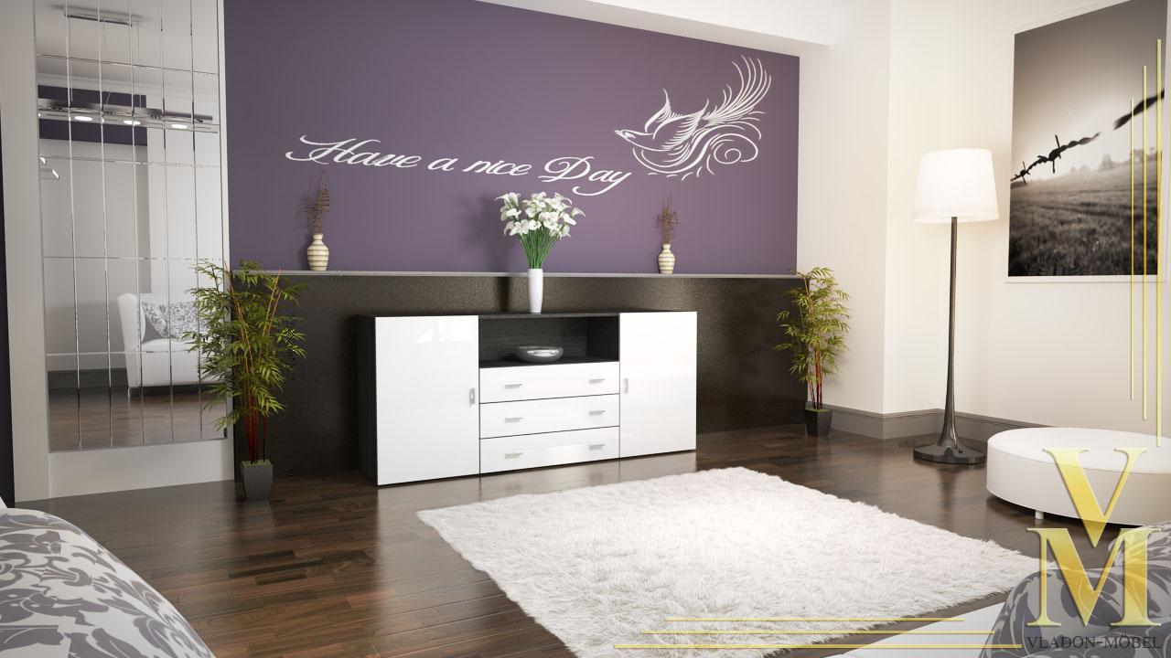 sideboard anrichte kommode skadu v2 schwarz wei. Black Bedroom Furniture Sets. Home Design Ideas