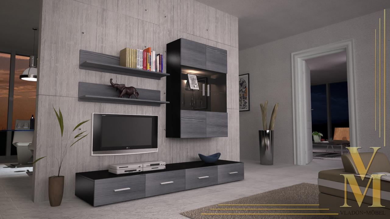 moderne anbauwand wohnwand schrankwand skadu v3 schwarz hochglanz naturtoene ebay. Black Bedroom Furniture Sets. Home Design Ideas
