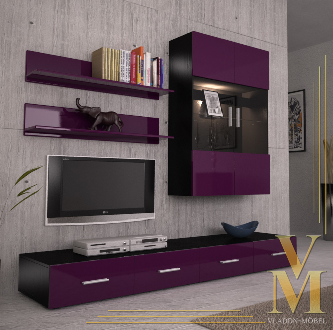 Wall Unit Living Room Furniture Skadu V3 In Black Raspberry Highgloss Ebay