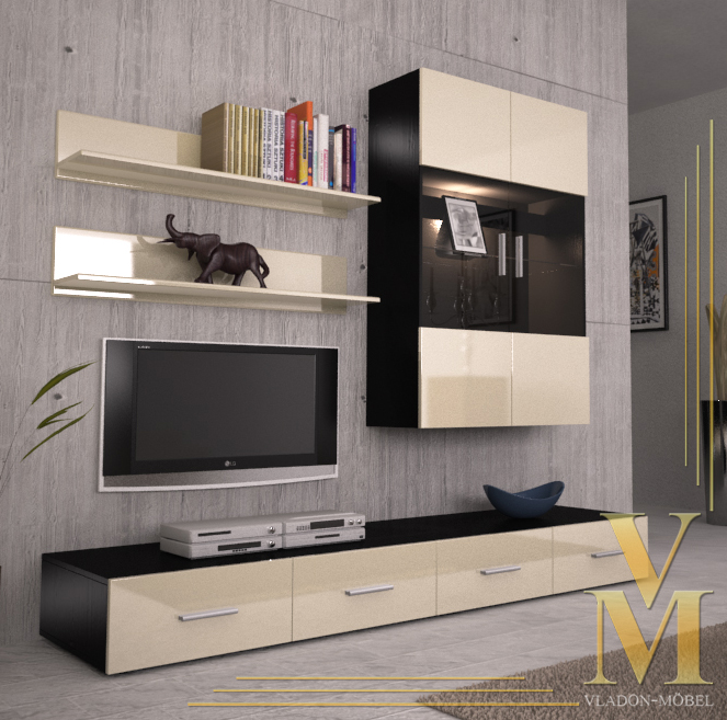 Wall Unit Living Room Furniture Skadu V3 In Black Cream