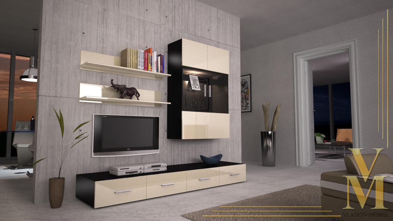 anbauwand wohnwand skadu v3 hochglanz in versch farben ebay. Black Bedroom Furniture Sets. Home Design Ideas