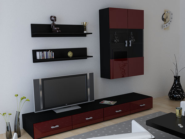 anbauwand wohnwand skadu v3 hochglanz in versch farben ebay. Black Bedroom Furniture Sets. Home Design Ideas