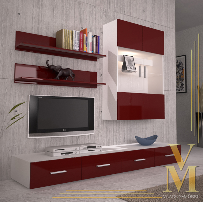 Wall Unit Living Room Furniture Skadu V3 In White Bordeaux Highgloss Ebay