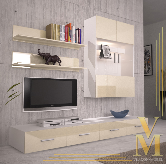 Wall unit living room furniture skadu v3 in white cream - Cream high gloss living room furniture ...