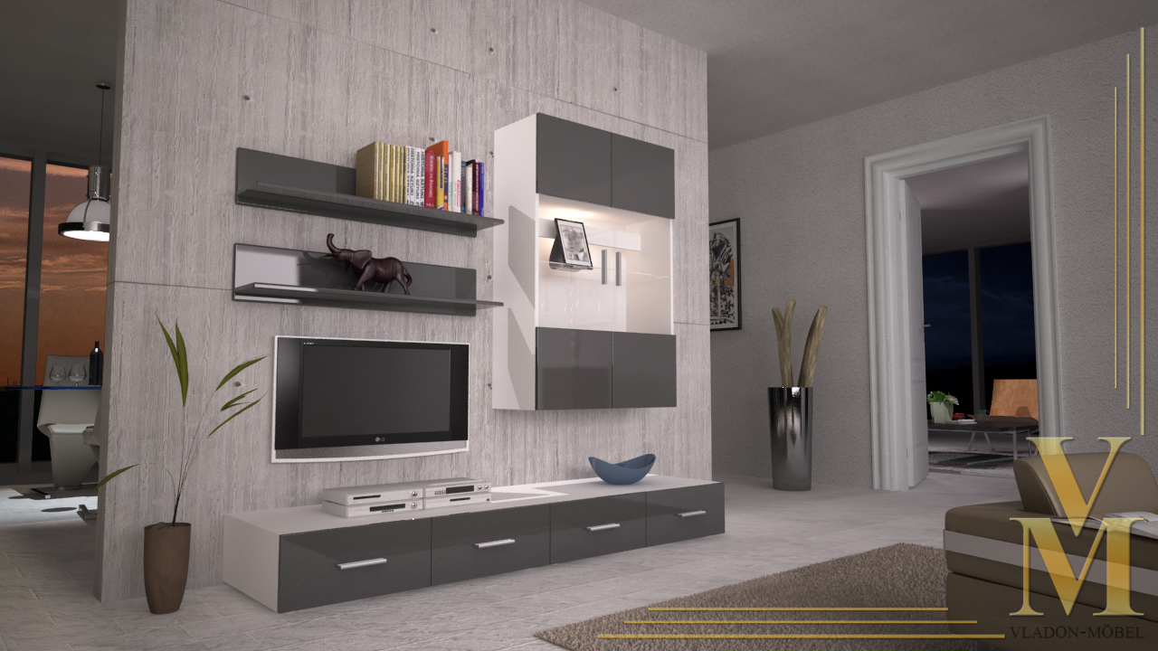 wohnwand anbauwand schrankwand skadu v3 in wei grau. Black Bedroom Furniture Sets. Home Design Ideas