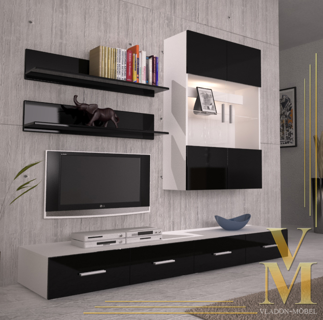 Wall Unit Living Room Furniture Skadu V3 In White Black
