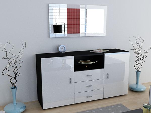 sideboard skadu in black white in highgloss ebay. Black Bedroom Furniture Sets. Home Design Ideas