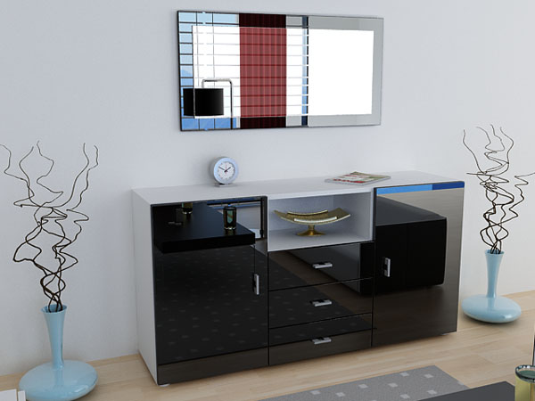 sideboard anrichte skadu hochglanz wei schwarz ebay. Black Bedroom Furniture Sets. Home Design Ideas