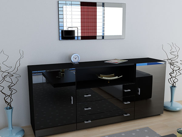 sideboard anrichte skadu v2 hochglanz schwarz schwarz ebay. Black Bedroom Furniture Sets. Home Design Ideas
