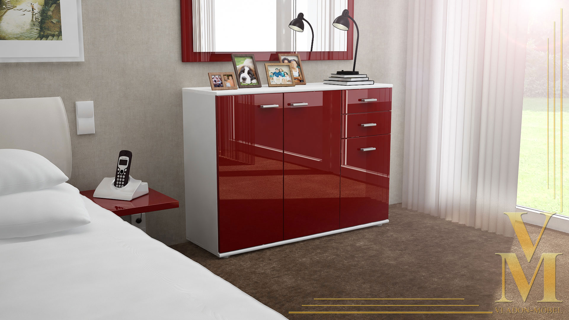 moderne kommode sideboard anrichte schrank solo v3 wei hochglanz naturt ne ebay. Black Bedroom Furniture Sets. Home Design Ideas