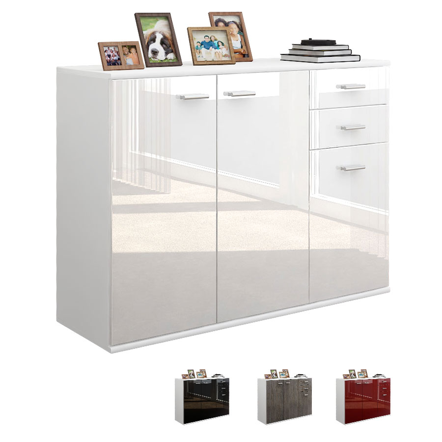 kommode schrank anrichte sideboard solo v3 in wei hochglanz naturt ne ebay. Black Bedroom Furniture Sets. Home Design Ideas