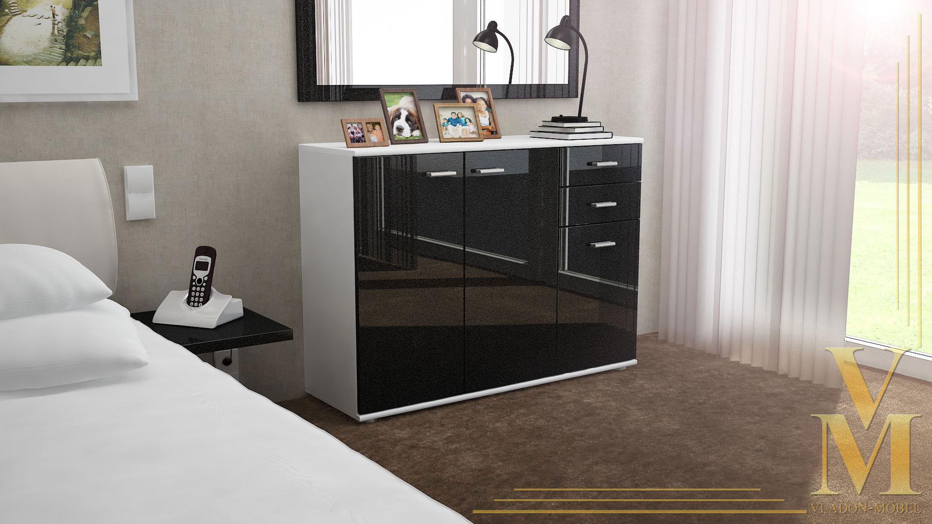 Cabinet Sideboard Cupboard Buffet Solo V3 White matt- High ...