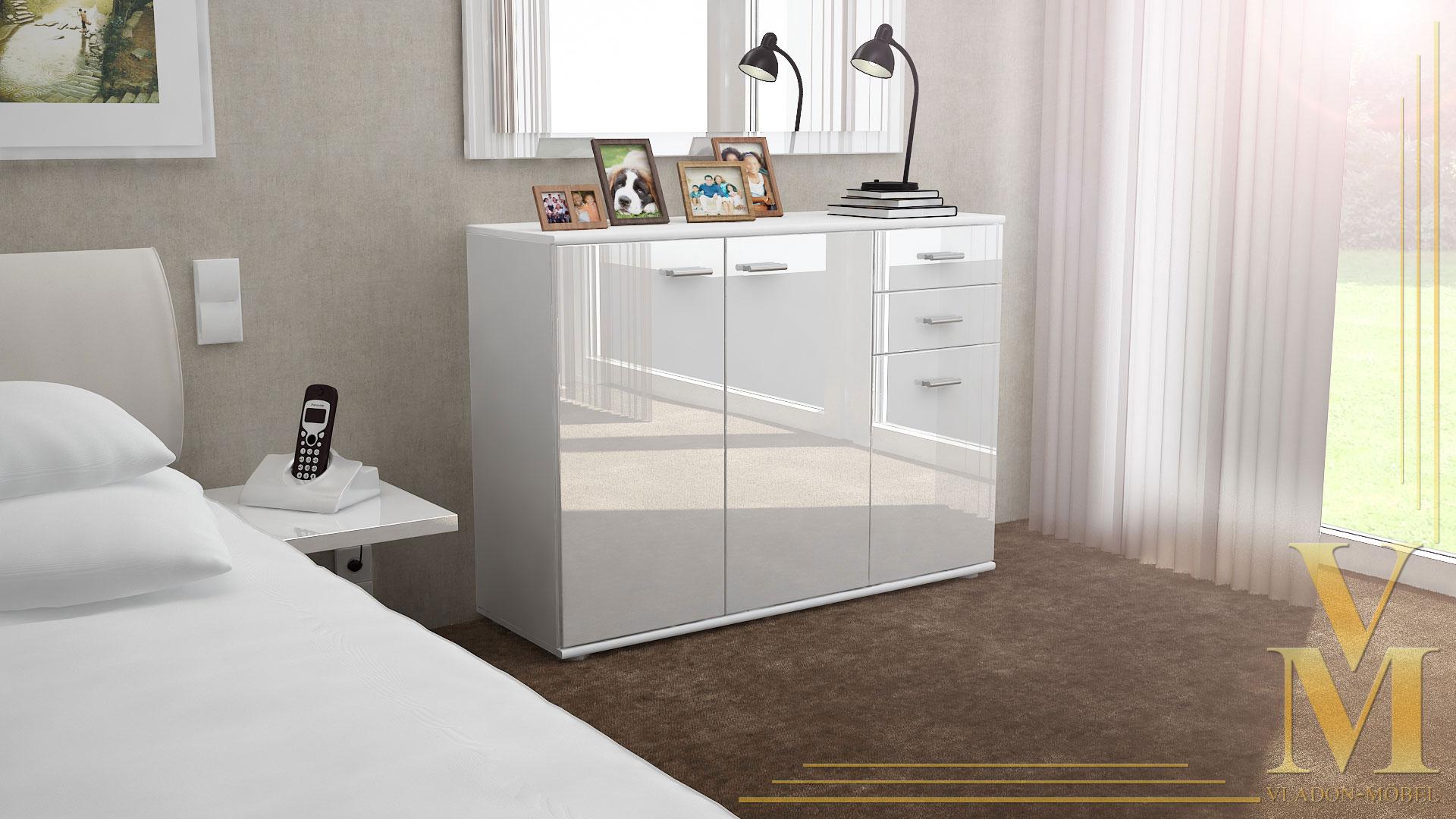 Cabinet Sideboard Cupboard Buffet Solo V3 White Matt- High