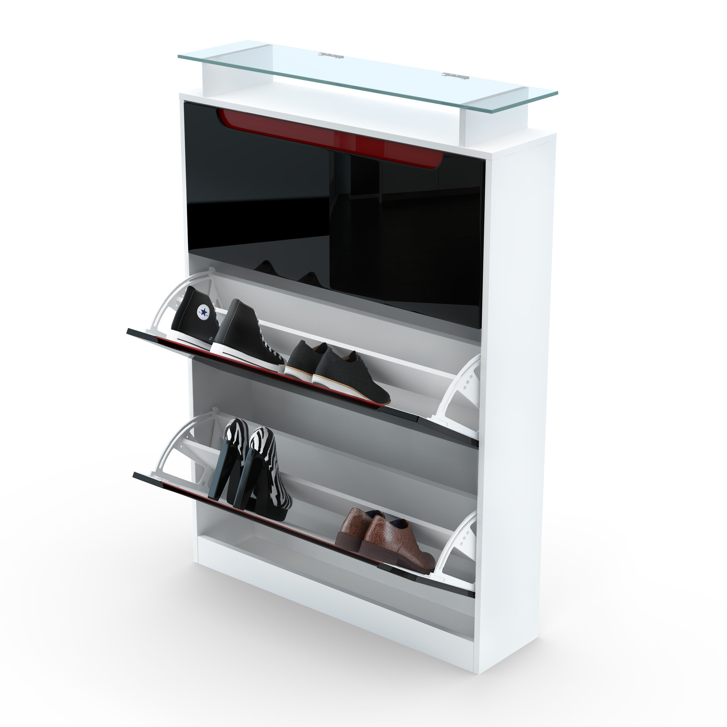 shoe storage rack cabinet organizer space in white high. Black Bedroom Furniture Sets. Home Design Ideas