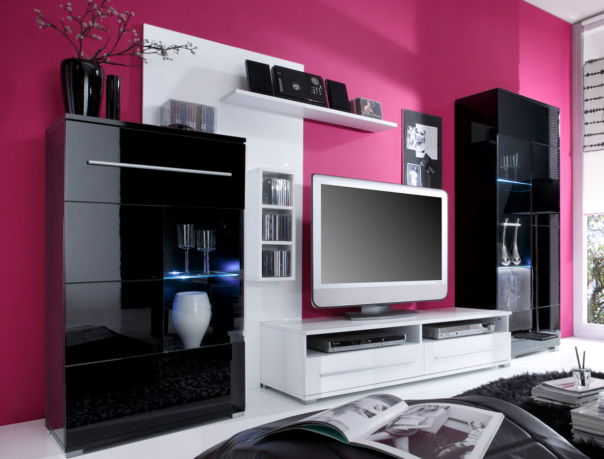 wohnwand wei schwarz hochglanz neuesten. Black Bedroom Furniture Sets. Home Design Ideas