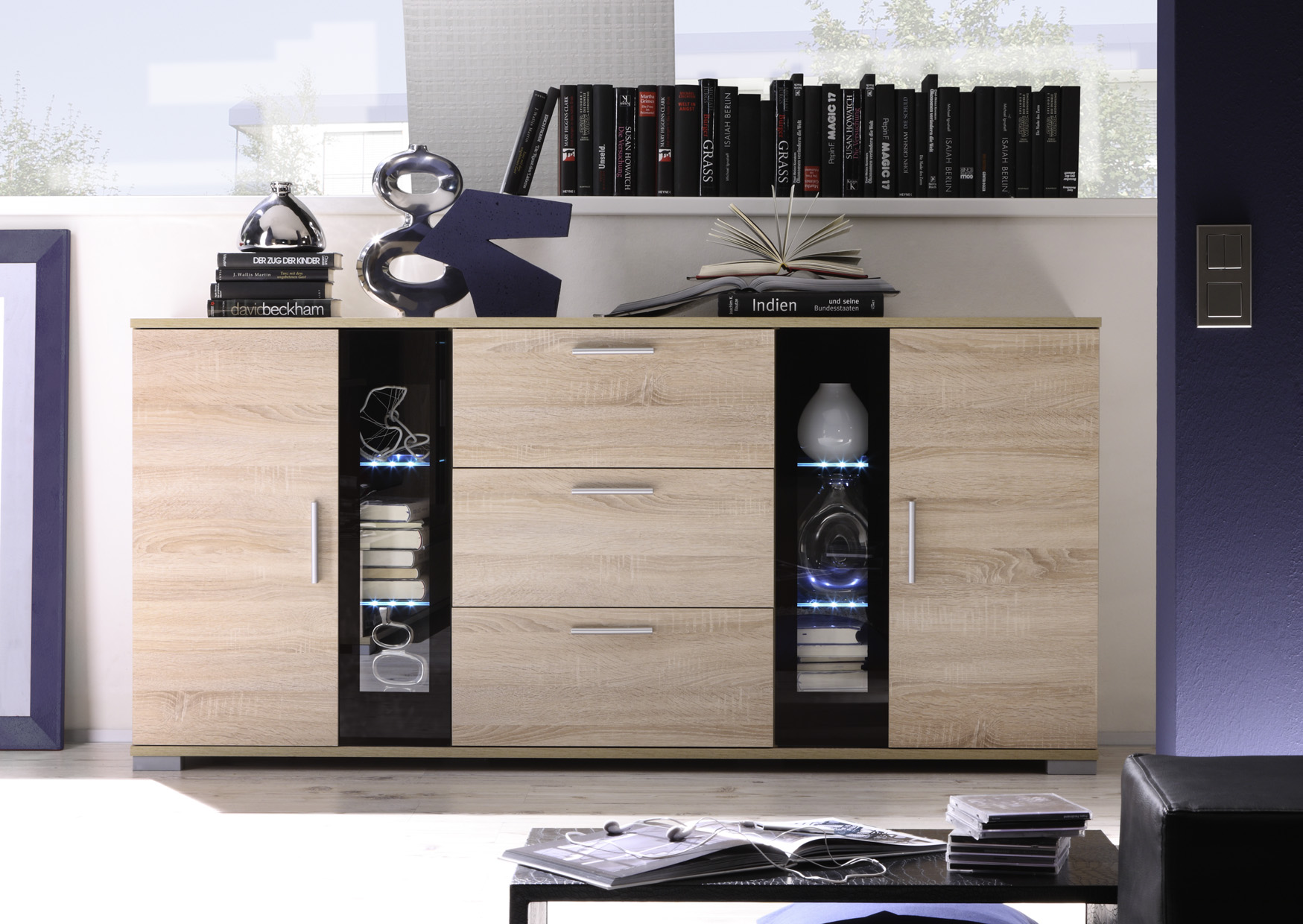 sideboard anrichte kommode tv board swing sonoma eiche ebay. Black Bedroom Furniture Sets. Home Design Ideas
