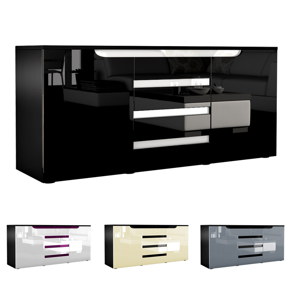 sideboard tv board anrichte kommode sylt schwarz in hochglanz naturt nen. Black Bedroom Furniture Sets. Home Design Ideas