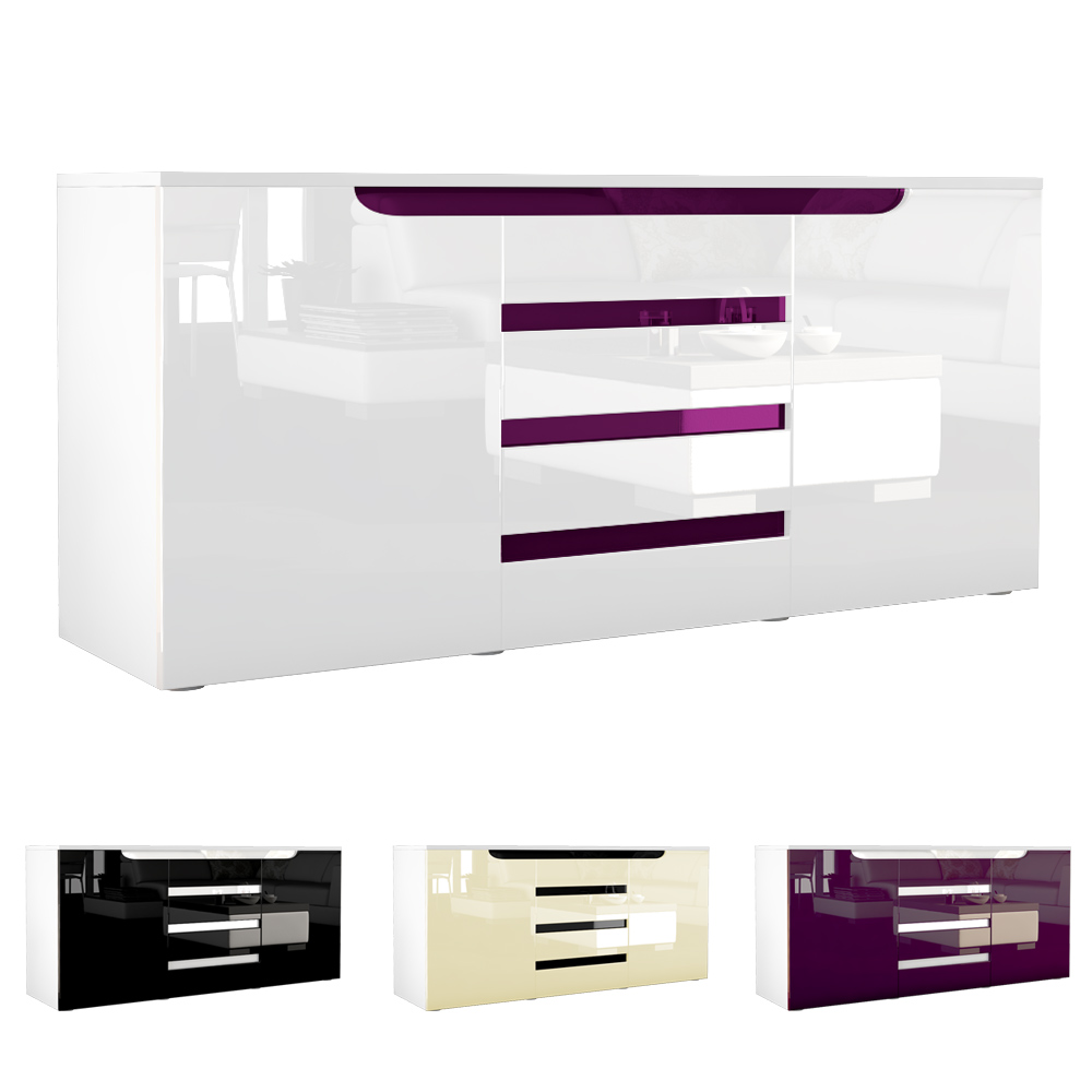 sideboard kommode anrichte highboard sylt in wei hochglanz und naturt ne ebay. Black Bedroom Furniture Sets. Home Design Ideas