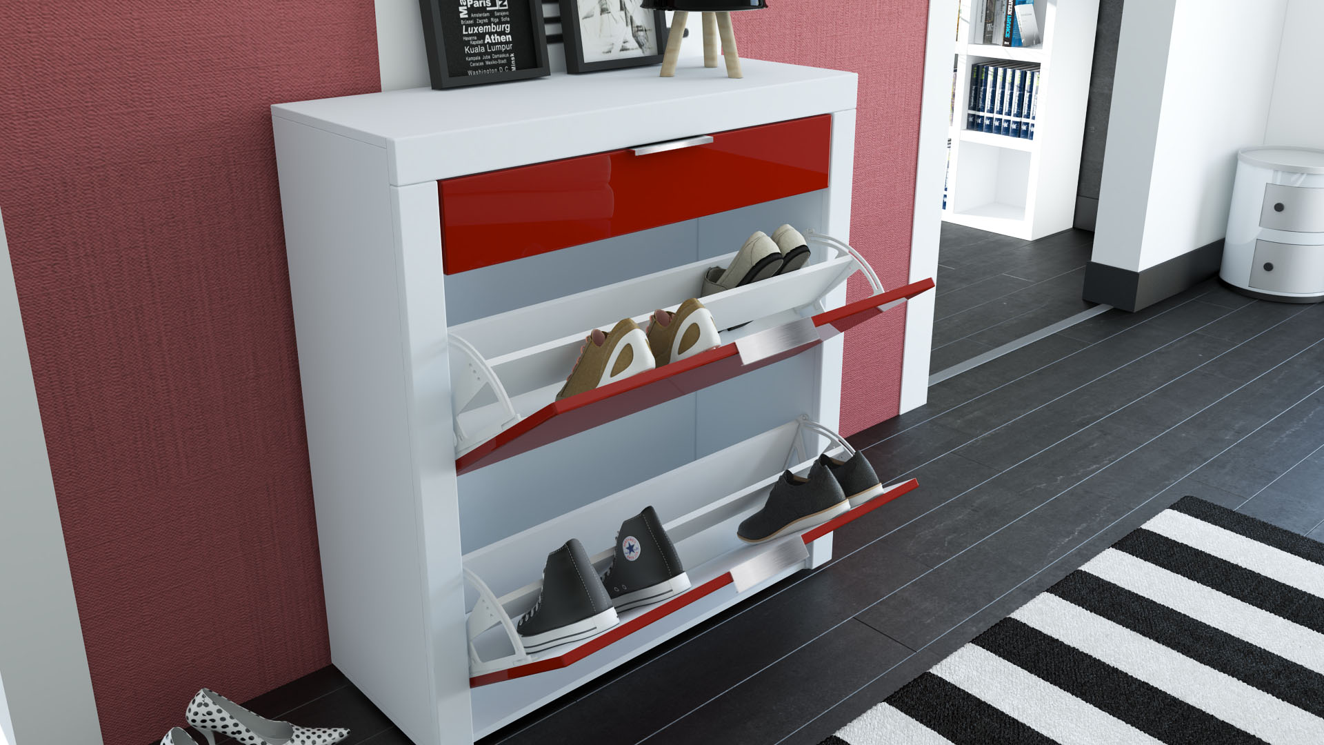 meuble chaussures posertarma fa ades en coloris divers ebay. Black Bedroom Furniture Sets. Home Design Ideas