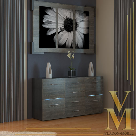 Sideboard cabinet tv board tory in black mali wenge ebay - Sideboard wenge ...
