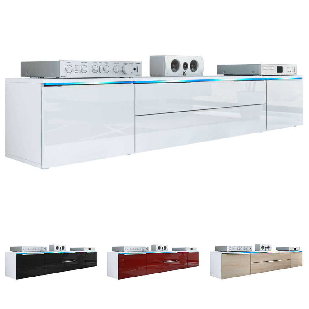 tv unit stand cabinet triest white high gloss natural tones ebay. Black Bedroom Furniture Sets. Home Design Ideas