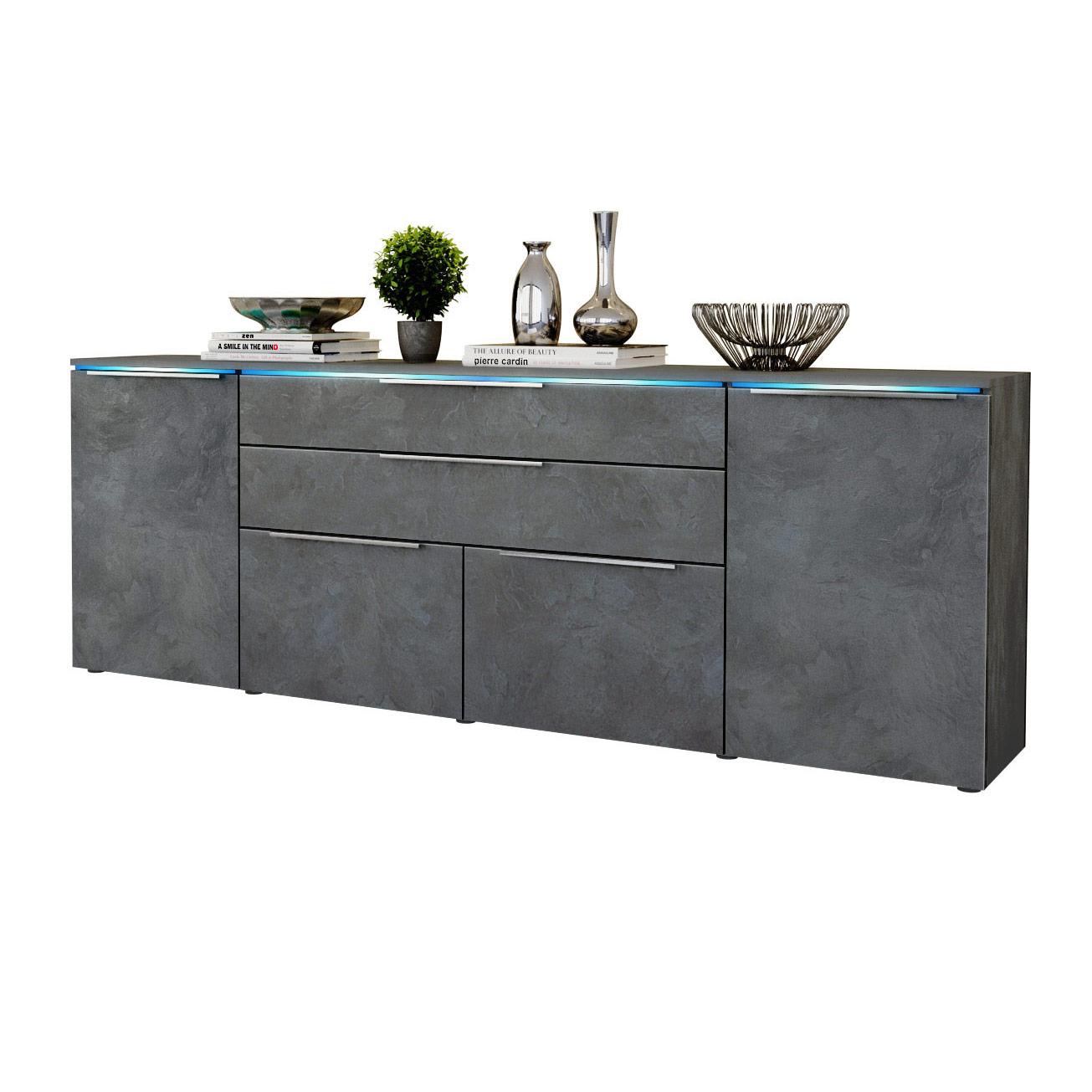 modernes sideboard kommode tv board vitrine anrichte triest in schiefer optik ebay. Black Bedroom Furniture Sets. Home Design Ideas