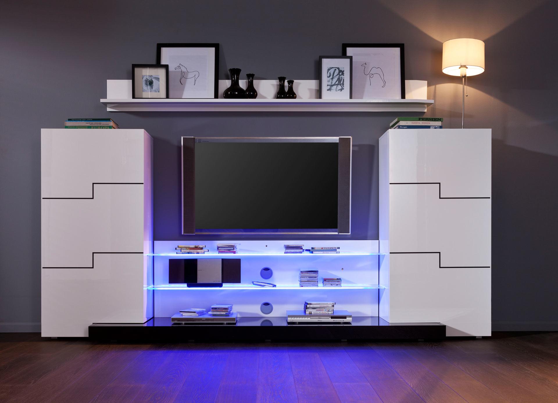 moderne anbauwand wohnwand schrank schrankwand twin in weiß, Gestaltungsideen