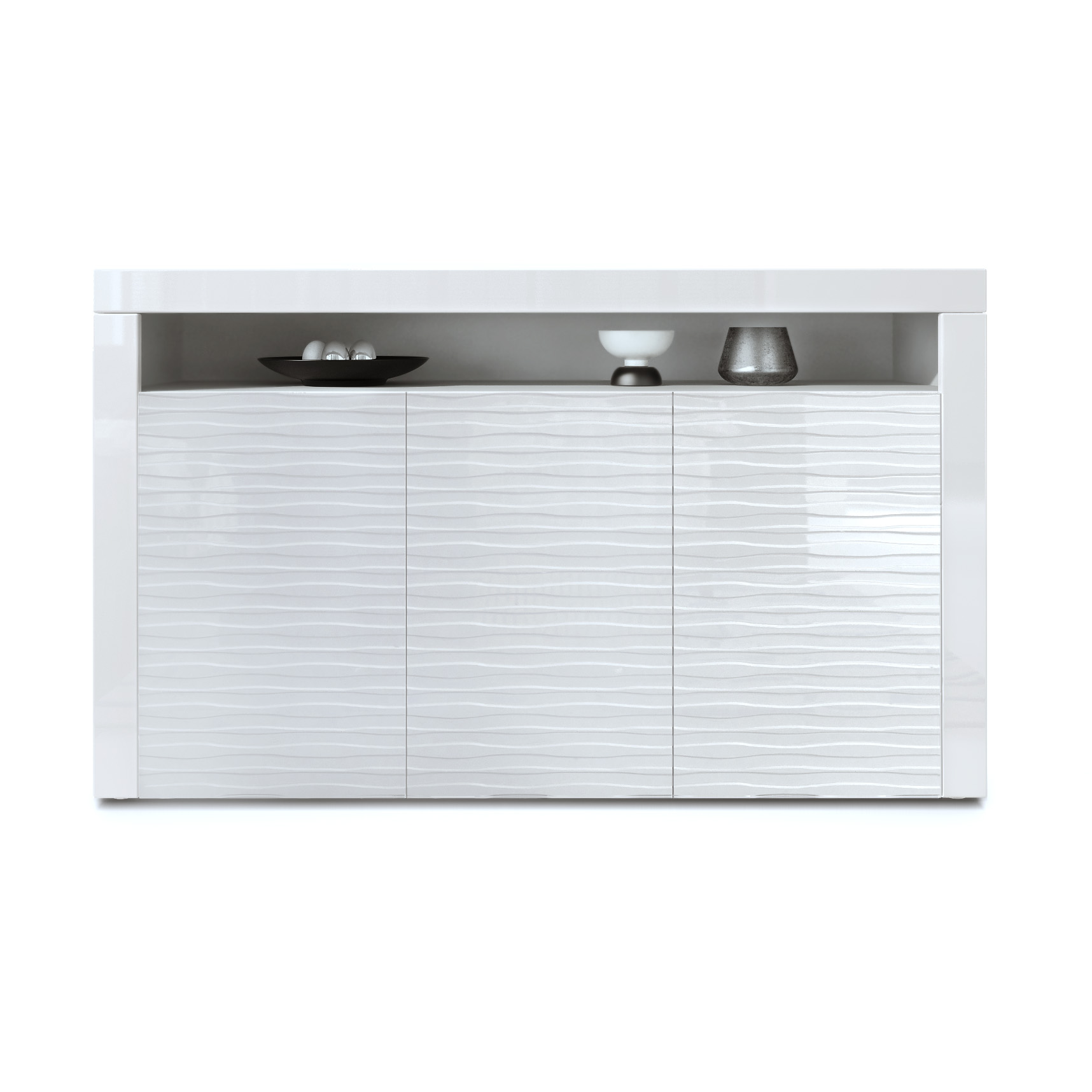 sideboard tv unit stand cabinet chest valencia in white with glossy 3d fronts ebay. Black Bedroom Furniture Sets. Home Design Ideas