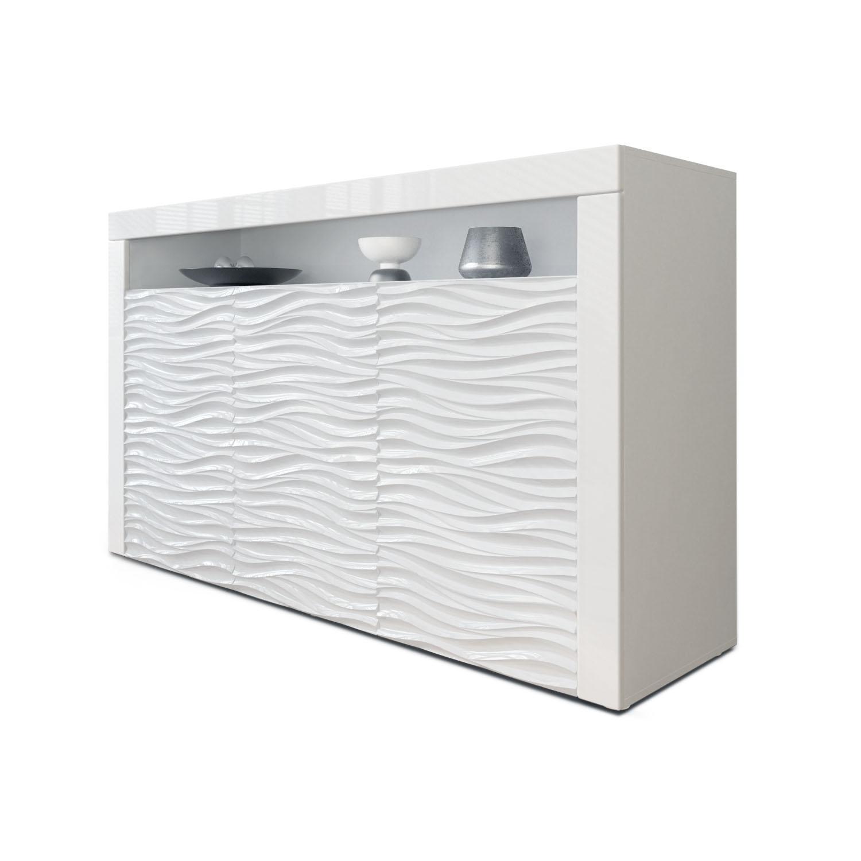 sideboard tv board kommode schrank lowboard valencia in wei mit 3d fronten ebay. Black Bedroom Furniture Sets. Home Design Ideas