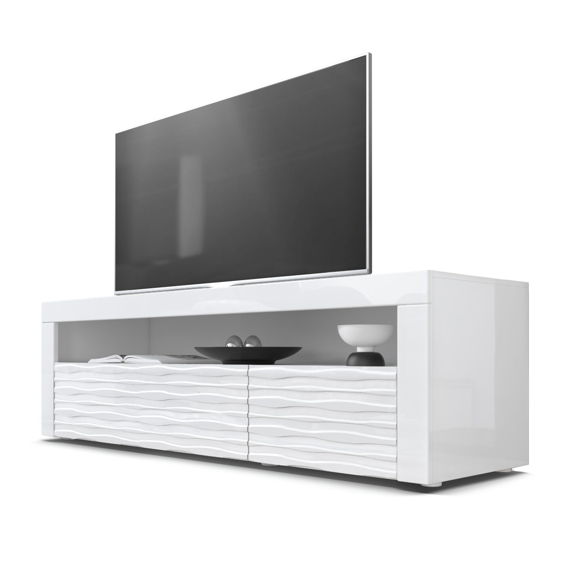 sideboard tv board kommode schrank lowboard valencia in wei mit 3d fronten ebay. Black Bedroom Furniture Sets. Home Design Ideas