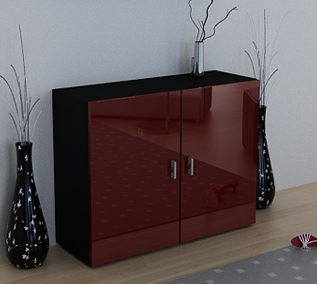 anrichte sideboard kommode vega schwarz rot hochglanz ebay. Black Bedroom Furniture Sets. Home Design Ideas