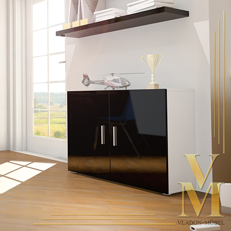 anrichte sideboard kommode vega weiss schwarz hochglanz ebay. Black Bedroom Furniture Sets. Home Design Ideas