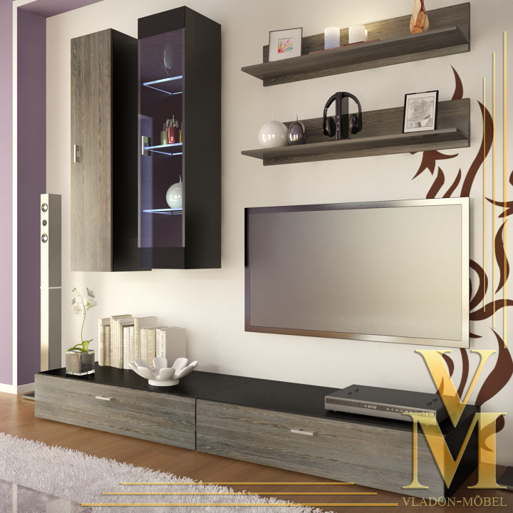 Wall Unit Living Room Furniture Veras In Black Mali Wenge Ebay