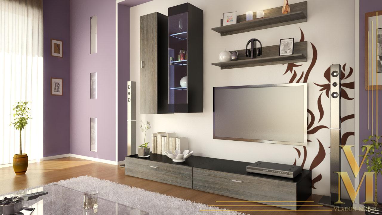 moderne anbauwand wohnwand schrankwand veras schwarz. Black Bedroom Furniture Sets. Home Design Ideas