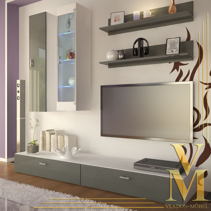 Wall Unit Living Room Furniture Veras in White Grey ...