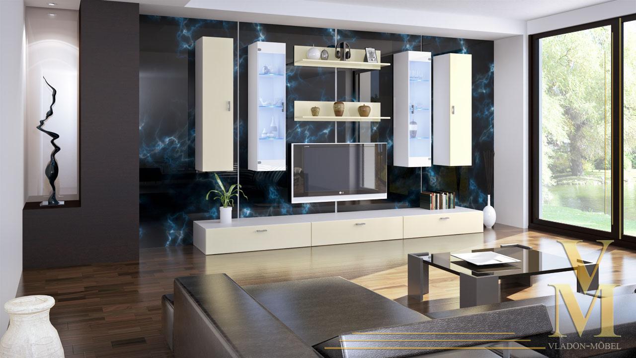wohnwand hochglanz creme wohnwand creme wei hochglanz details zu wohnwand dunkelbraun hochglanz. Black Bedroom Furniture Sets. Home Design Ideas